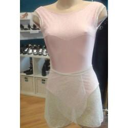 Body rosa in meryl con pizzo bianco, completo di gonnellino