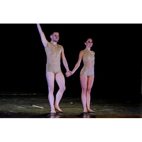 Body donna e uomo color nude con rete e dettagli in cotone