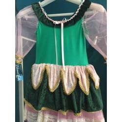 Tutù verde e rosa in ciniglia con tulle e decorazioni